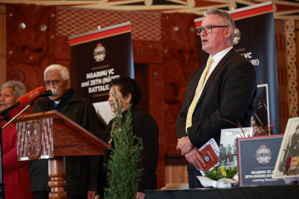 Minister Davis speaking at the launch of the learning resource.Photo byJosie McClutchie