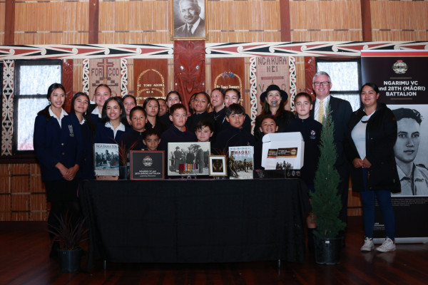 Minister Davis with rangatahi at the learning resource launch.Photo byJosie McClutchie.