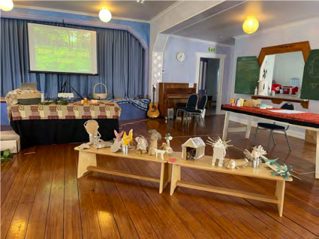 Art projects being displayed on table