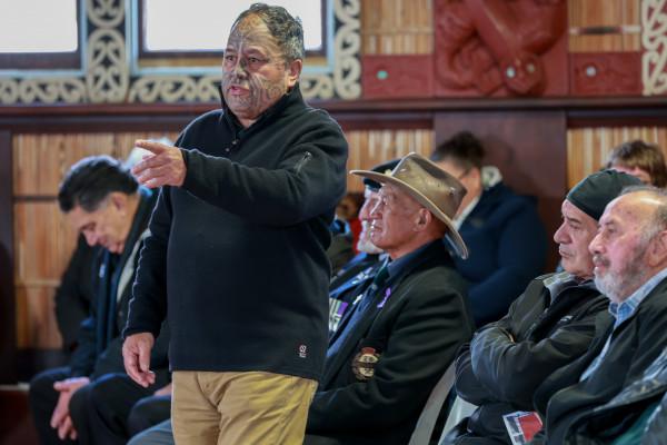 Dr Wayne Ngata gives a whaikōrero at the pōhiri.Photo byJosie McClutchie.
